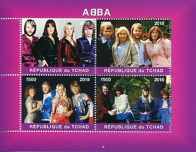 Chad 2018 MNH ABBA 4v M/S Popstars Pop Stars Celebrities Music Stamps
