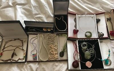 Massive Vintage Job Lot Of Costume Jewellery Items X 16 Pendants Pearls Lucite