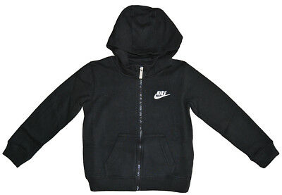 Nike Little Boys' Club Fleece Full Zip Hoodie Junior Hooded Top Jacket - Black