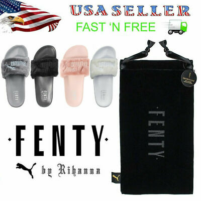 NEW Puma Rihanna Fenty Fur Slides Pink Black Grey White Blue Green Bow Pastel