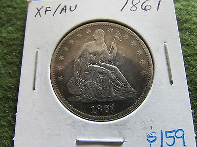 1861 Seated Liberty Half Dollar Civil War Philadelphia Mint 50 Cent Silver Coin