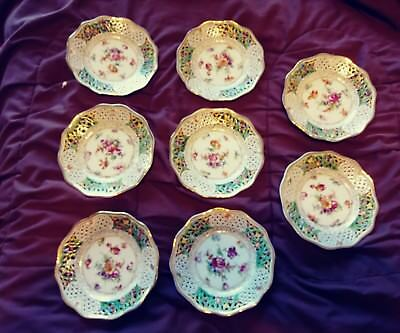 8  Dresden Schumann Cabinet Plates Reticulated Floral Hand Painted Mint