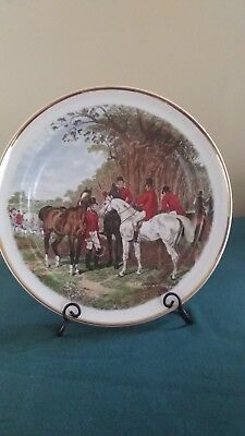 Vtg Wood & Sons Crown Suppliers ENGLAND Plate Equestrian Horse Fox Hunt 1989 min