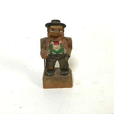 Vintage Folk Art Wood Carving of a Man Holding his Cane Miniature