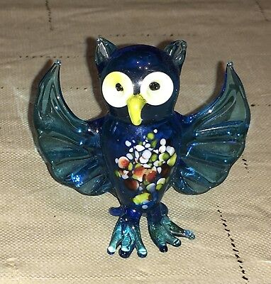 Cobalt Blue Blown Glass Miniature Glass Owl, Wings Spread,  Vintage