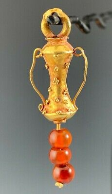 Ancient Roman Gold And Carnelian Decorated Amphora Pendant 100 Bc - 200 Ad!