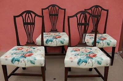 Set of four English Hepplewhite 'shield back' mahogany chairs, late 1700s