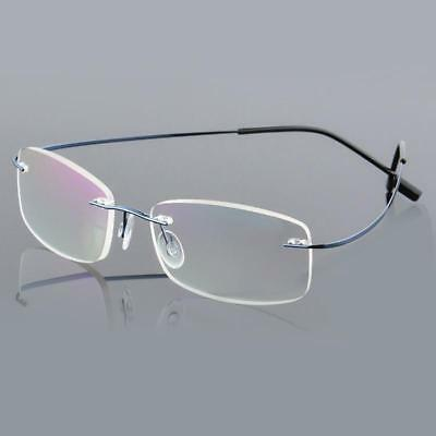 e0856acbd4 Reading Glasses Mens Eyeglasses Memory Titanium Spectacles Frame Rimless  Eyeware
