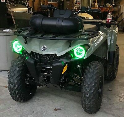 Can Am Outlander L Halos rings lights set 2 - GREEN 2015 2016 2017 angel eyes