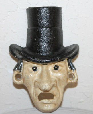 Antique Vintage Style Cast Iron Abe Lincoln Top Hat Figural Beer Bottle Opener