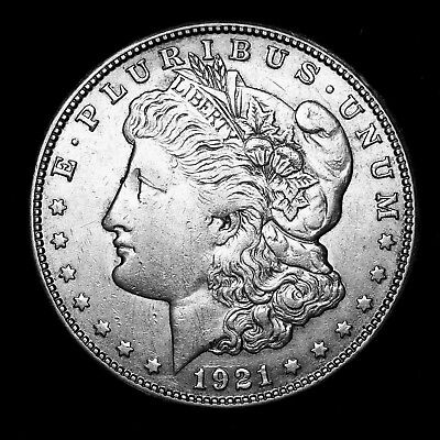1921 S ~**ABOUT UNCIRCULATED AU**~ Silver Morgan Dollar Rare US Old Coin! #553