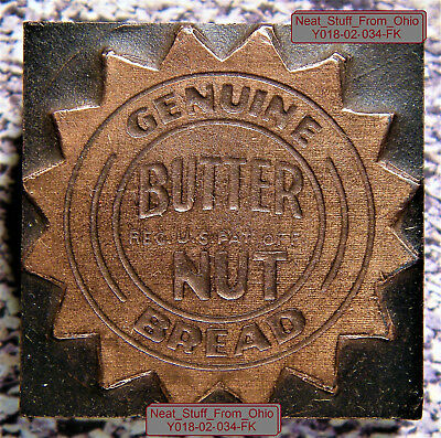 BUTTERNUT BREAD - LETTERPRESS PRINTER'S BLOCK - RARE / UNUSUAL ITEM, Circa 1950s
