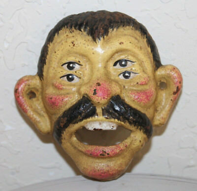 Drunk Man Cast Iron Snaggle Tooth Four Eyed Wall Mounted Bottle Opener Man Cave