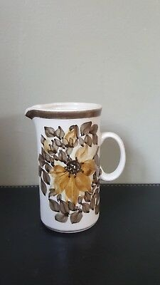 Vintage Retro Jersey Pottery Brown Floral Small Cream Jug