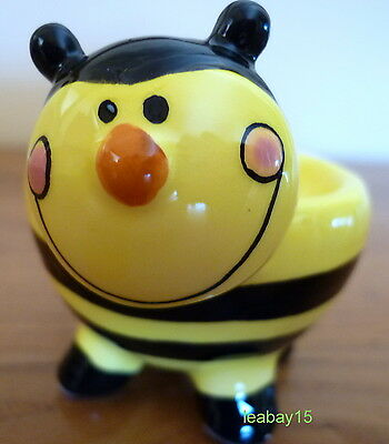Cute Black & Yellow Bumble Bee Polyresin Egg Cup Great For Collectors! Brand New
