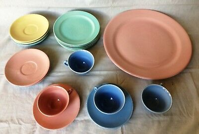 """Lu-Ray Pastels Dishes 21 Pieces Vintage 1940's MCM Mid Century 14"""" Platter Cups"""