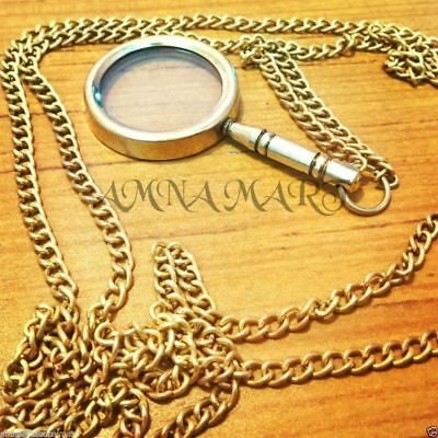 Antique Brass Magnifying Glass Necklace With Chain Pendant Collectible