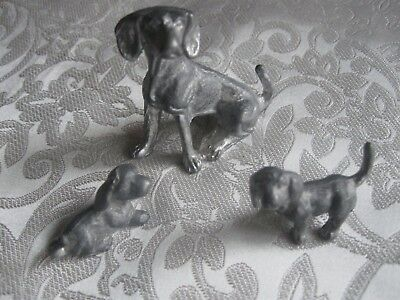Vintage Lot Of 3 Pewter Spaniel Dog  Figurines Mom And 2 Puppies