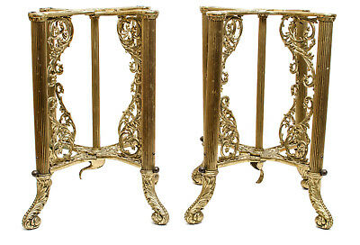 Antique Ornate Classical Brass Coffin Casket Stands Gorgeous!