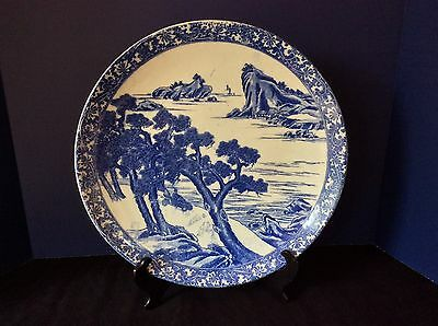 Japanese Imari Antique Lrg Blue White Transfer Ware Bowl Auto Figure Ocean Tree