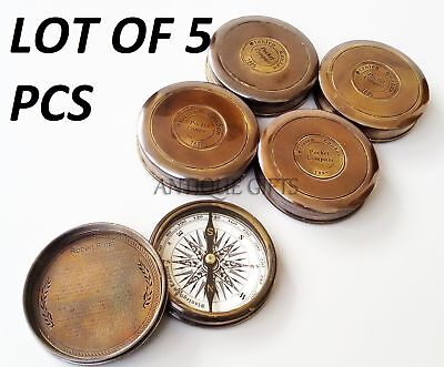 "Lot of 5 pcs.Brass  Antique Handmade Stanley London Brass Pocket 2""Poem Compass"