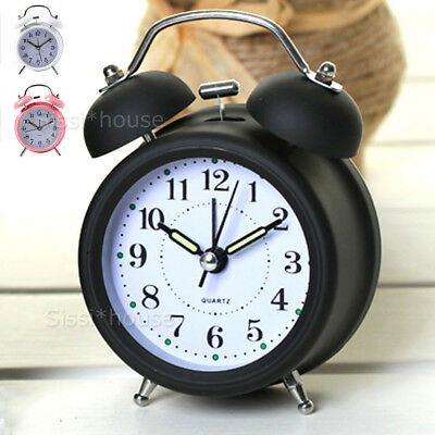 Twin Bell Retro Alarm Clock Vintage Loud Clocks Battery Bedside Desk Analogue