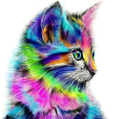 Colorful Cat 5D Diamond Painting Embroidery Cross Crafts Stitch Kit Home Art Dec