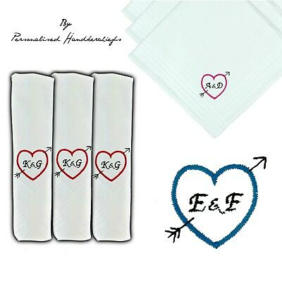 40cm LARGE PERSONALISED HANDKERCHIEF INITIALS LOVE HEART ARROW EMBROIDERED
