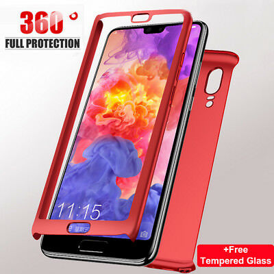 For Huawei P20 Pro Lite P Smart 360° Protective Hard Case Cover +Tempered Glass