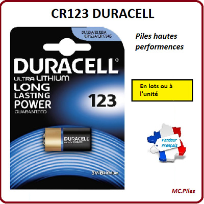 Lots de Piles/Cells boutons Duracell 3V lithium CR123, Spéciale photo