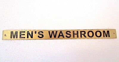 MEN'S WASHROOM – Marine BRASS Door Sign -  Boat/Nautical - 12 x 1 Inches (8)