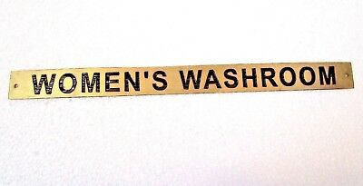 WOMEN'S WASHROOM – Marine BRASS Door Sign -  Boat/Nautical - 12 x 1 Inches (10)