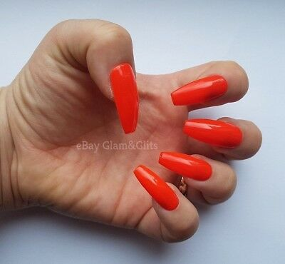24 Hand Painted False Nails - Neon Orange Extra Long Coffin Gel Full Cover Tips