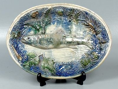 Antique 19C French Majolica Palissy Plate w Fish Shrimp Mussels Insect Frog PT
