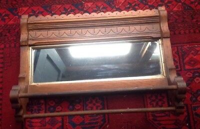 Antique New England Farmhouse Eastlake Wood Mirrored Towel Bar Complete Original