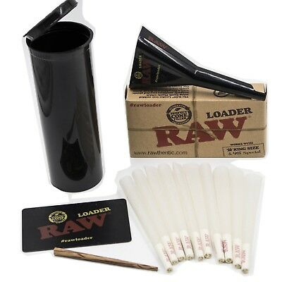 Raw King Organic  Size Cones 10 count With Raw Cone Loader and Stash Container