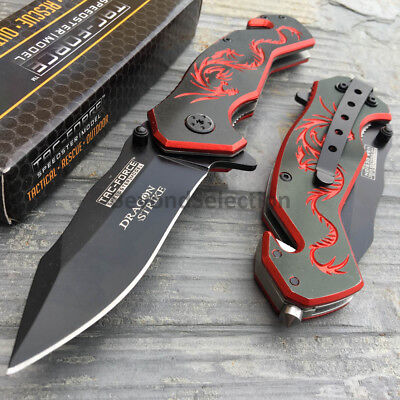 Black CD w/ Red Dragon Serrated Spring Assisted Outdoor Pocket Knife TAC-FORCE