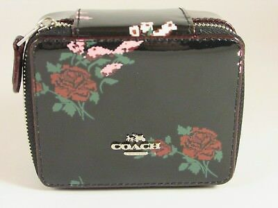 COACH TRAVEL Jewelry Box Organizer Patent Leather Black Floral Zip