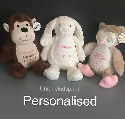 Personalised Soft Toy New Baby Embroidered Soft Teddy Toy Newborn Gift Keepsake