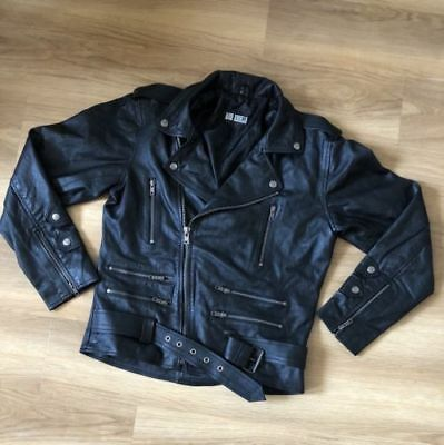 Men heavy classic Black Slim Biker Motorcycle Leather multi pocket Jacket Coat