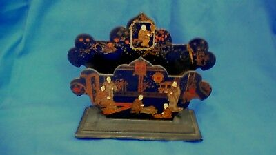 Antique Japanese Chinoiserie Laquer Hand Painted Card Letter Rack Holder