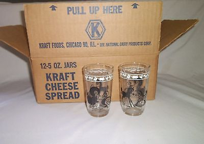 Kraft Swanky Swig Juice Glass Cheese Jars Black Animals Horses and Ducks NIB