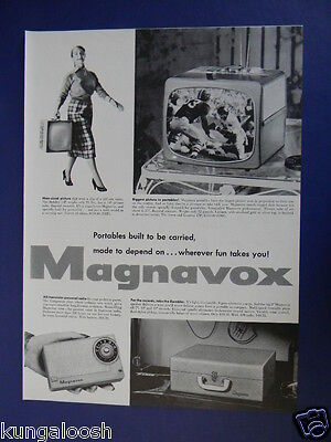 1956 Portables Built To Be Carried...magnavox Tv Sets,radios Etc Sales Art Ad
