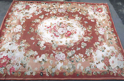 Tapis ancien rug Europeen European Français France French Aubusson 19e siecle