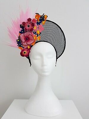 Miss Halo black lace,feather and applique womens headband fascinator