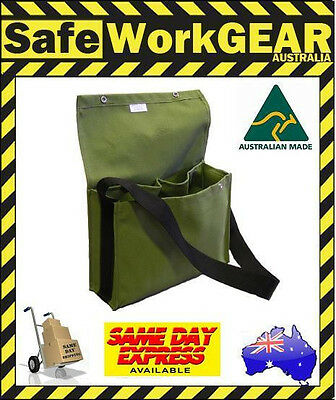 Canvas Tool Gear Work Storage shoulder  Crib Heavy Duty Bag Green Aussie Made