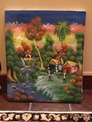 "Large Haitian Oil Painting On Canvas 24"" Tall X 20"" Wide Unframed"