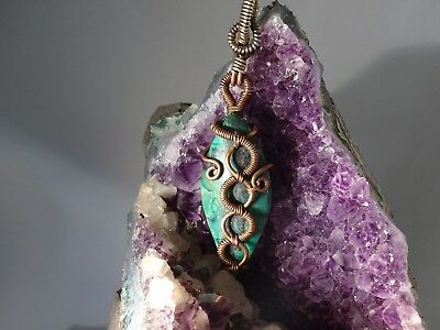 Gorgeous Chrysocolla Pendant Handmade Set In Copper With Silver Accents
