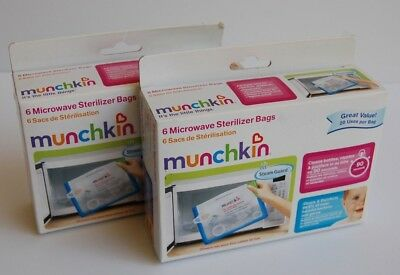 2-PACK! Munchkin 6 Microwave Sterilizer Bags 20 Uses Per Bag FREE SHIPPING!