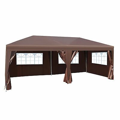 Outsunny 6mx3m Pop Up Gazebo Party Tent Canopy Marquee with Storage Bag Coffee
